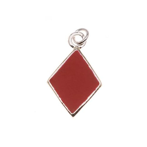 Delight Beads Silver Plated with Enamel Red 'Diamonds' Playing Card Suit Charm (1) Diamond Playing Cards Charm