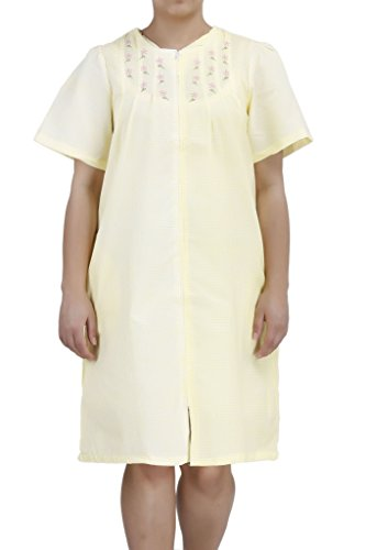 (Ezi Women's Duster4 Short Sleeve Zip Up Cotton House Dress Yellow)