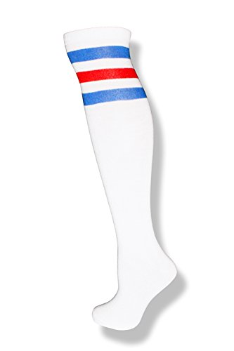 City Lights Fresno (NeonNation Unisex White Knee High Team Tube Socks w/Three Various Colored Stripes (White w/Blue & Red)