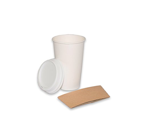 2dayShip White Paper Hot Coffee Cups with Lids and Sleeves,