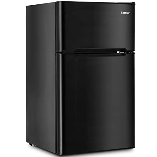 Costway Compact Refrigerator 3.2 cu ft. Unit Small Freezer Cooler Fridge (Freezer Black Refrigerator)