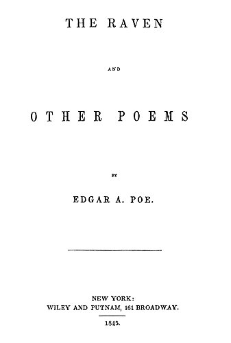 The Raven Title Page Ntitle Page Of The First Edition Of Edgar Allan PoeS The Raven And Other Poems Published At New York New York In 1845 Poster Print by (18 x 24)