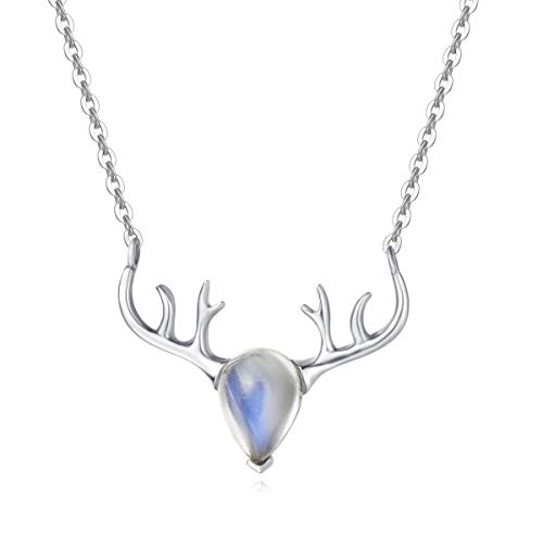 """FANCIME Sterling Silver Rainbow Moonstone Necklace Solitaire June Birthstone Vintage Antlers Buckhorn Pendant Necklace Fine Jewelry for Women Girls 16""""+2"""" Extender"""