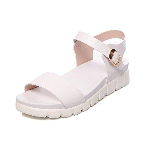 Adee Ladies Ankle-Cuff Buckle Polyurethane Sandals White Tt1x36krYp