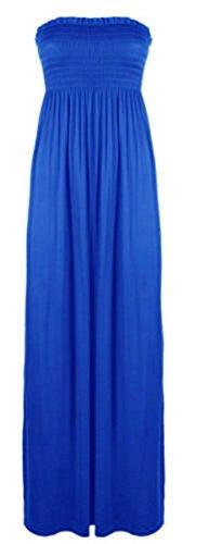 Vestido largo para mujer, escote palabra de honor, tallas 36-54 azul real