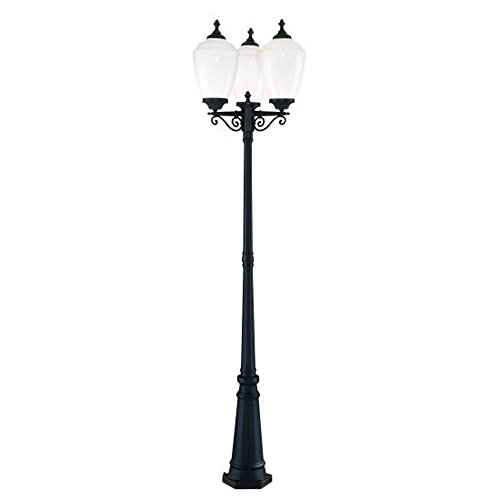 (Acclaim 5369BK/WH Acorn Collection 3-Head Post Combination 3-Light Outdoor Post Light, Matte Black)