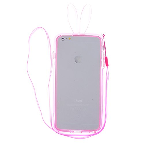 CaseBee® - Cute Bunny Ears iPhone 6 Plus (5.5) Bumper Case (Package includes Screen Protector) (Pink)