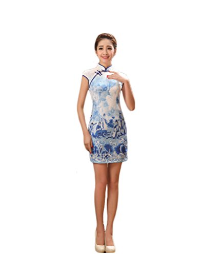 EXCELLANYARD Women's Lace Qipao Cheongsam Chinese Dress 4 Blue (Chinese Chinese Dresses Dress)