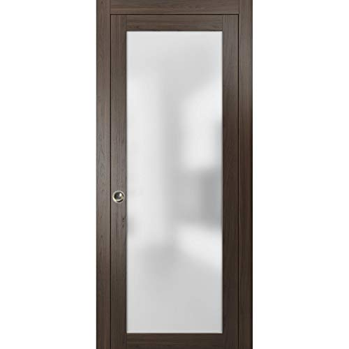 Lite Glass Sliding Pocket Door 30 x 84 inches | Planum 2102 Chocolate Ash | Pocket Frame Trims Pulls Track Hardware Set…