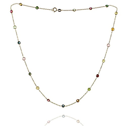 - 14k Yellow Gold Handmade Station Necklace With Tourmaline Gemstones 16-20 Inches