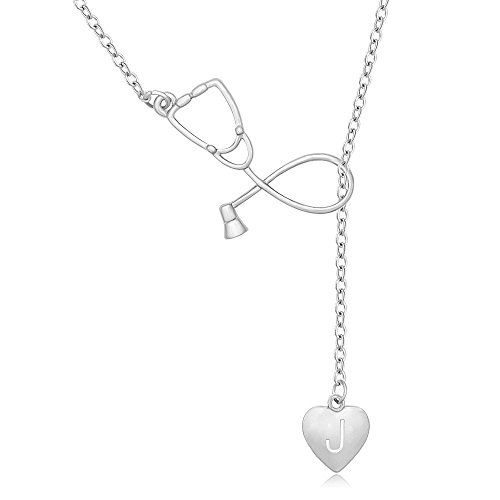 Silver Necklace Heart Lariat (MANZHEN Silver Stethoscope Lariat necklace Heart Charm Initial Letter Stethoscope Pendant for Doctor Nurse (J))