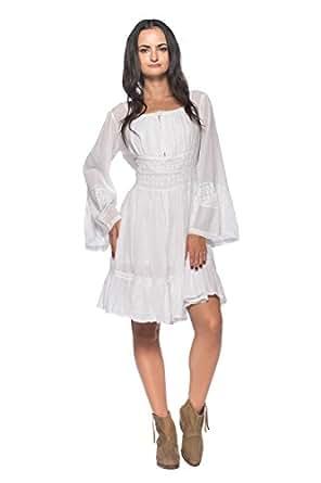 Women's Empire Dagget Sleeve Maiden Country Boho Retro 70s Chemise Peasant Dress (Small)