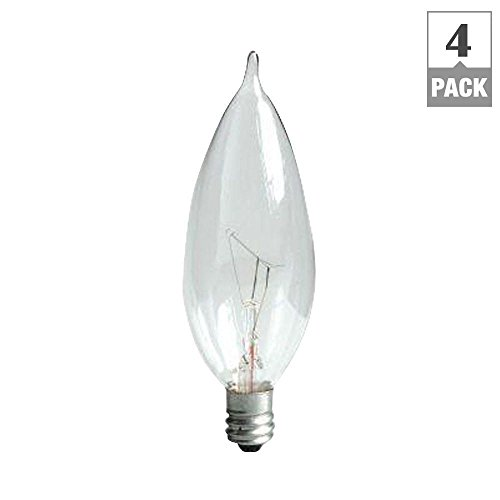 60-Watt Incandescent CAC Bent Tip Decorative Candelabra Base Double Life Crystal Clear Light Bulb (4-Pack)
