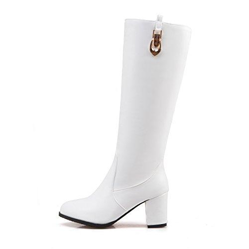 DecoStain Women's Buckle Patent Leather High Heel Zipper Knee High Boots White jwUjC9euDB