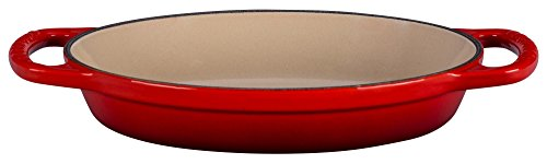 Cerise Red Ceramic - Le Creuset Enamel Cast Iron Signature Oval Baker, 5/8 quart, Cerise (Cherry Red)