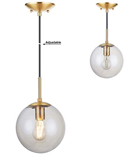 Doraimi 1-Light Modern Simple,Stem Hanging Pendant,Dyed Antique Brass Finish with Tawny Glass Shade for Bar, Dining Room, Corridor,Living Room. LED Bulb(not Include) -Dia 8