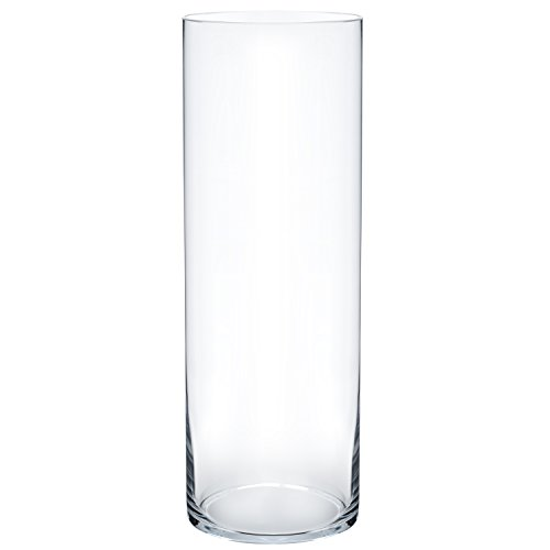 "Flower Glass Vase Decorative Centerpiece For Home or Wedding by Royal Imports - Cylinder Shape, 14"" Tall, 4"" Opening, Clear"