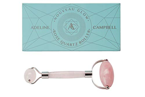 Rose Quartz Face Roller | Highest quality of any jade roller or quartz roller on the market | Use to massage face, depuff and roll eyes | Stainless steel frame will not rust