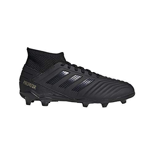 adidas Unisex Predator 19.3 Firm Ground Soccer Shoe, Black/Gold Metallic, 4 M US Big Kid ()