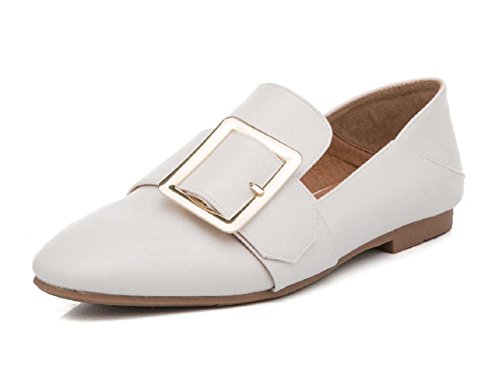 Femeninos Planos Casuales Eu37 Zapatos 7 De Cn37 Us6 Spring Ms 5 Cuadrada Cabeza Uk4 Elevadores 5 5 Hebilla Blancos v8Hxw0