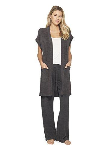 Barefoot Dreams CozyChic Ultra Lite Women Sleeveless Long Cardigan - Carbon - Small