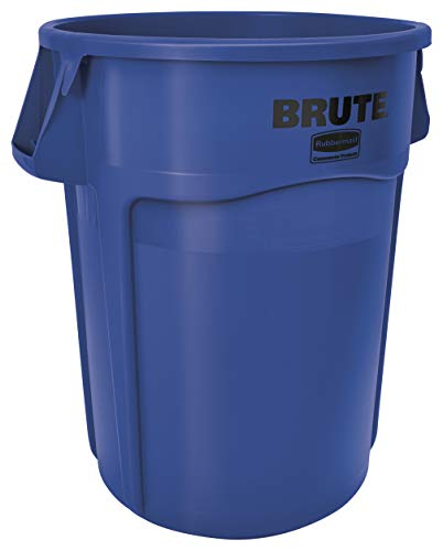 Rubbermaid Commercial Products 1779732 Brute Heavy-Duty Round Trash/Garbage Can, 55-Gallon, Blue, 3 Pack