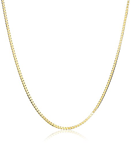 """14k Yellow Gold Solid Box Chain Necklace (0.8mm ), 18"""""""