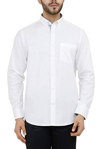 - GE SHIRTS Men's 100% Egyptian Cotton Slim Fit White Oxford Cloth Button Down Casual Dress Shirt Size 16.5