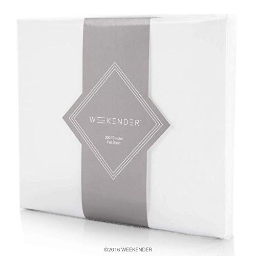 WEEKENDER 200 Thread Count Hotel Flat Sheet - Cotton Rich Bl