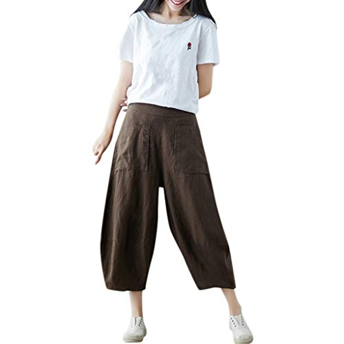 - Womens Casual Loose Elastic Waist Cotton Trouser Cropped Wide Leg Pants Coffee