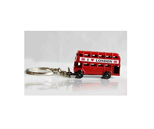 Higere Creative Key Chain I Love London Double Decker Bus Car Keyring (Red)
