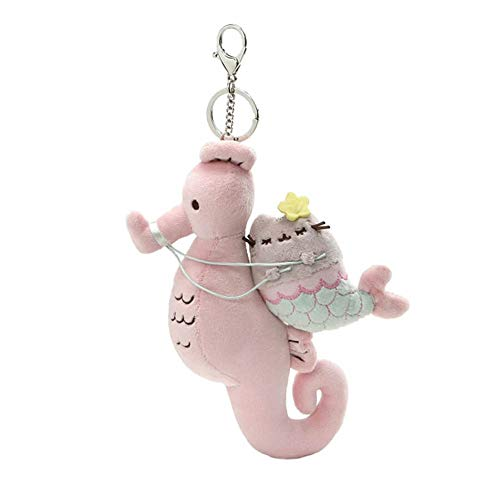 GUND Pusheen Mermaid and Seahorse Magical Kitties Plush Deluxe Keychain Clip, Multicolor, - Sea Ride World