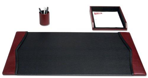 Dacasso Burgundy Leather Desk Set, - 3 Piece Accessory Leather Desk
