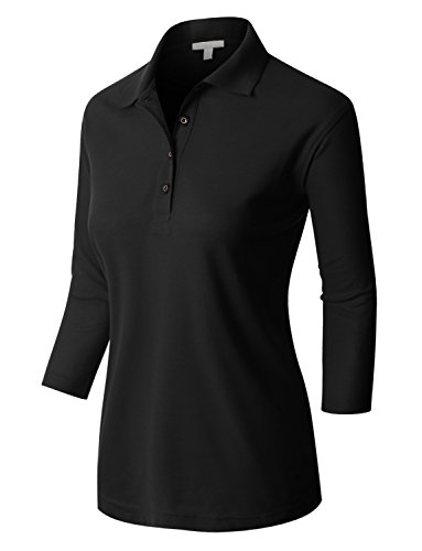 RK RUBY KARAT Premium Womens Active 3/4 Sleeve Polo Shirt With Stretch