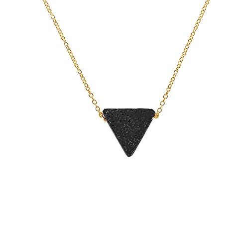 Cute Lava Rock Triangle Stone Pendant Necklace for Women and Girl (Gold)