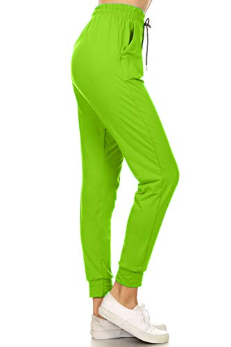 Leggings Depot JGA128-LIME-M Solid Jogger Track Pants w/Pockets, -