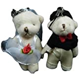 Set of 2 medium bride & groom poseable, jointed wedding favours cake toppers teddy soft bears by Fat-catz-copy-catz