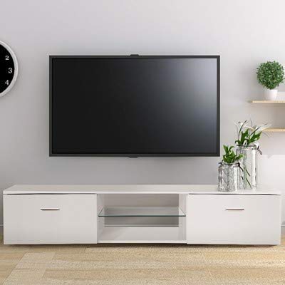 TUSY TV Stand for 65 Inch Television Stands White, Media Console  Multipurpose Organizer, 2 Storage Cabinets 2 Open Shelves for Living Room  Bedroom