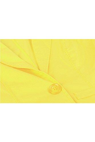 Las Mujeres De Manga Larga Chaqueta De Traje De Negocios Blazer 1 Botón Yellow