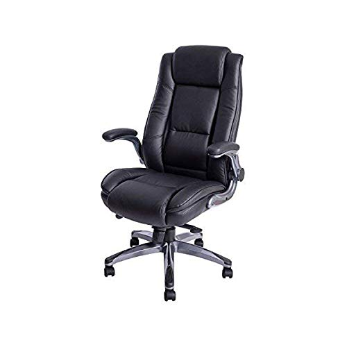 KADIRYA High Back Bonded Leather Executive Office Chair, Adjustable Recline Locking Flip-up Arms Computer Desk Chair, Thick Padding and Ergonomic Design for Lumbar Support Black(Gloves Gift)