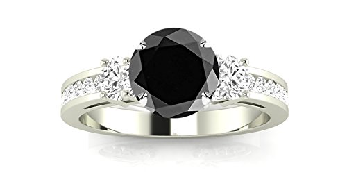 14K White Gold Channel Set 3 Three Stone Diamond Engagement Ring with a 2 Carat Black Diamond Heirloom Quality Center