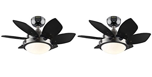 Westinghouse Lighting 7224300 Quince Two-Light 24-Inch Reversible Six-Blade Indoor Ceiling Fan, Gun Metal with Opal Frosted Glass (Quince Gun Metal - 2 Pack)