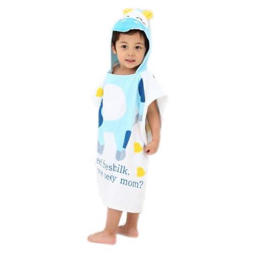 Little Vache Bleu Ultra absorbante pour enfant à capuche Serviette de bain Serviette de bain Gant de toilette à capuche pour enfant