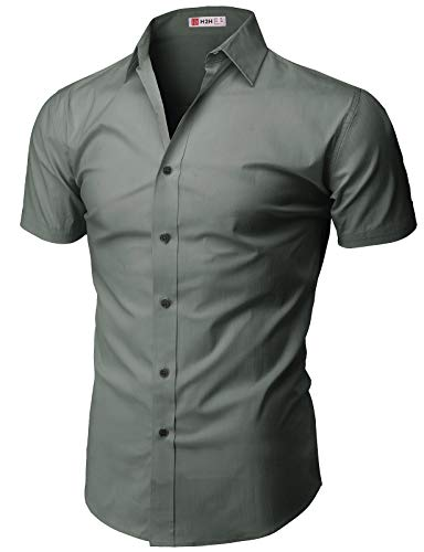 - H2H Mens Slim Fit Short Sleeve Oxford Casual Button Down Shirt Darkgray US S/Asia M (KMTSTS0132)