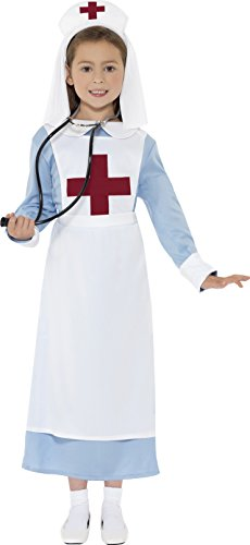 Smiffys Children's WW1 Nurse Costume, Dress, Mock Apron and Headpiece, Ages 10-12, Size: Large, Color: Blue, (Red Cross Nurse Costumes)