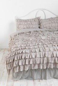 UPC 888099795553, 300TC Solid Light Grey Full Ruffle Duvet Set 100% Egyptian Cotton