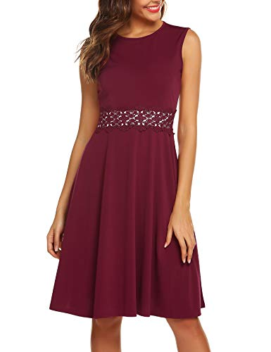 URRU Women's Vintage Floral Lace A-Line Swing Embroidery Sleeveless Flared Cocktail Elegant Wedding Party Dress Wine Red XL (Party Cocktail Wear)