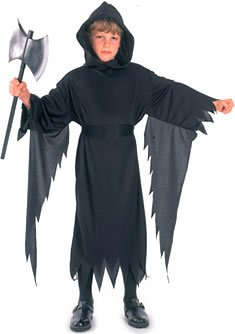 Black Robe Costume Uk (Medium Black Childrens Demon Scream Costume)