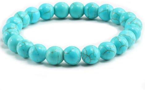 Shshd Bracelet Turquoise Bleu Pierres Naturelles Femme Charmes Perles 8mm Yoga