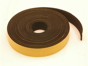 Rubber-Stuff Neoprene Rubber Self Adhesive Strip 30MM Wide X 3MM Thick X 5M Long (Black With Yellow Backing Tape)